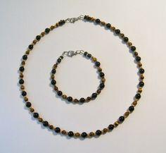 Men's Onyx Tigers Eye Necklace Bracelet Set