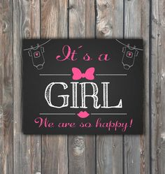 Printable Its A Girl Sign–16x20 Chalkboard Sign–Gender Reveal Chalkboard-Printable Gender Announcement Sign-Baby Girl Print-Instant Download