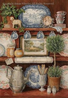 """""""Cupboard"""" - what a wealth of homey items in this charming print. Old English blue transfer china, pastel Victorian plates and cups, a sage topiary, a pot of ivy, a silver coffee pot, jars of preserves, pieces of old sandwich glass, a photo in an antique frame, a little lamb, doilies and a Currier and Ives print."""
