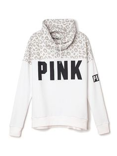 Victoria's Secret PINK Cowl Neck Sweatshirt Worn once washed & layers flat to dry. In EXCELLENT like new condition. Pink Victoria Secret, Victoria's Secret Pink, Victoria Secrets, Pink Cheetah, White Leopard, Pink White, Cheetah Print, Snow Leopard, Pink Snow