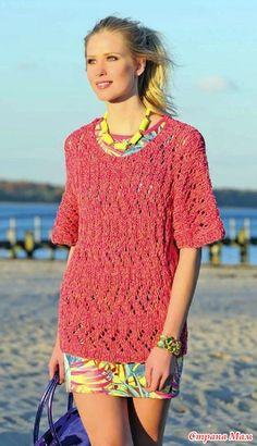 Просторный ажурный пуловер с короткими рукавами. Спицы.