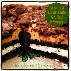 Oreo and Peanut Butter Stuffed Brownies
