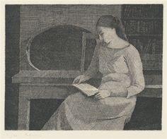 Gérard de Palezieux, Femme lisant, etching