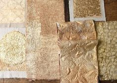 NIGEL ATKINSON NEW COLLECTION Samples of new textile collection with gold and silver leaf from Joss Graham