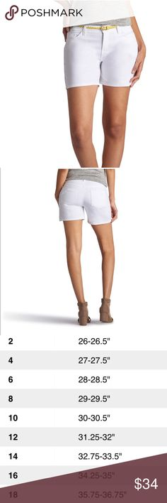 Women's LEE Twila Modern Belted White Jean Shorts For a cute and casual look, pair these women's Lee jean shorts with your favorite peasant top or blouse.  PRODUCT FEATURES •Stretchy denim construction •Coordinating belt •5-pocket FIT & SIZING •5-in. inseam •Midrise sits above the hip •Modern fit •Zipper fly FABRIC & CARE •Cotton, rayon, polyester, spandex •White: cotton, spandex •Machine wash •Imported Lee Shorts Jean Shorts