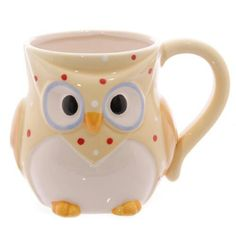 Owl Ceramic Mug -Yellow   Novelty polka dot owl ceramic mug arriving in its own gift box designed by Ted Smith.  The perfect shabby chic accessory for your home or gift for your loved ones.  Available in the following 3 colours:  •	Pink  •	Yellow  •	Blue  Each piece is priced individually.  Size -: Height 10cm Width 14cm Dept