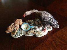 Vintage Lowell Davis Schmid, Hand Made Sculpture ,Goose Chasing Dog Figurine