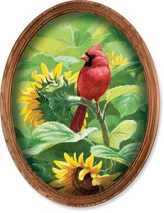 Cardinal and Sunflowers Print is framed without glass to give it the look and feel of the original Framed Size x Pretty Birds, Beautiful Birds, Cardinal Birds, Watercolor Sunflower, China Painting, Wildlife Art, Bird Art, Canvas Art Prints, Cardinals