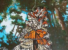 Monarch BUTTERFLIES Original Oil Painting on Canvas Fine Art Wildlife