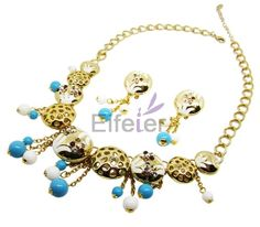 Luxury classical style jewelry sets with shiny crystals and pearl & sweet bells for wedding