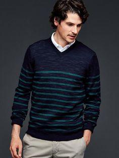 Merino stripe slub V-neck sweater