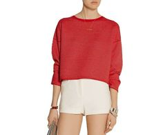 NWT THEORY Tamrist Red Ivory Textured Knit Sweater Boxy Boat Neck Top L Large #Theory #BoatNeck #Work