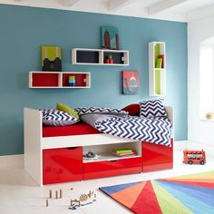 Southside Childs Wooden Cabin Bed, Childs Cabin Bed, Children's Red Cabin Bed Childrens Cabin Beds, Childrens Bedroom Furniture, Interior Wall Colors, Interior Walls, Wall Colours, Kids Bedside Table, Wood Bed Design, Built In Cupboards, Red Bedding
