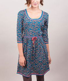 Take a look at this Blue & Pink Rickrack Trim Elisabeth Three-Quarter Sleeve Dress by Riverside on #zulily today!