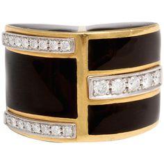 1STDIBS.COM Jewelry & Watches - DAVID WEBB - David Webb Diamond Black Enamel & Yellow Gold Ring