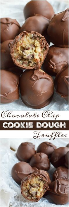 STOP what you're doing and make these Edible Cookie Dough Truffles! Chocolate chip cookie dough that is safe to eat is rolled into balls and coated with chocolate! This no-bake dessert recipe is as good as it gets!