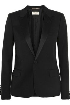 Black wool-piqué and satin Button fastening at front 100% wool; trim: 100% polyester; lining: 100% silk Dry clean Made in Italy