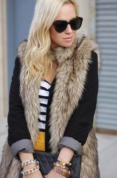 Zara Skirt, H Striped Shirt, Matty M Blazer, Michael Kors Faux Fur Vest, Karen Walker Sunglasses,Bracelets: HRH Collection, Alexander McQueen, Hermes. Vintage Chanel Bag.