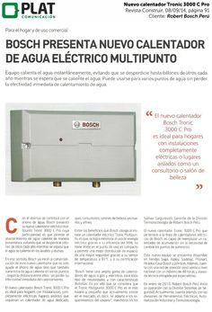 Robert Bosch: Lanzamiento de calentador Tronic 3000 Pro en la revista Construir de Perú (08/09/14)