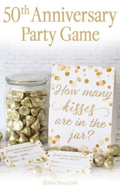 50 anniversary White and Gold How Many Kisses Game includes: 1 double-sided sign measures 5 x 7 (folding stand-up sign, no frame needed) 30 guessing cards measure 2 x each This party g 50th Wedding Anniversary Decorations, 30th Anniversary Parties, 50th Birthday Party Decorations, Homemade Anniversary Gifts, 30th Wedding Anniversary, Gold Birthday Party, 50th Party, Birthday Games, 50th Anniversary Invitations