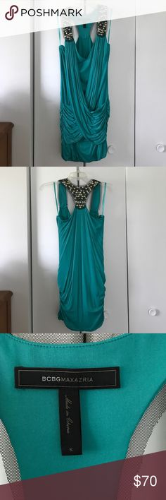 Bcbgmaxazria green racerback dress Size small. Beautiful form fitting dress with panels that draw over mid-section. Vneck. Racerback details pictured above. Worn once in excellent condition. BCBGMaxAzria Dresses Mini
