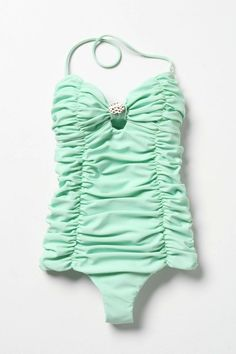mint one piece retro inspired bathing suit