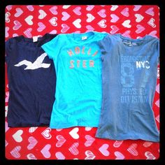 BUNDLE OF THREE TEES Two Hollister tees and one Aeropostale. One navy blue with a glitter bird and one bright turquoise with bright orange letters and one blue top with lighter turquoise letters.. It's a baby fit tee. Which means tighter in the waist. Cute. All size SMALL. Hollister Tops Tees - Short Sleeve