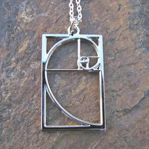 Silver rhodium Fibonacci necklace. Stunning math jewelry for students, teachers, and brilliant women of all kinds.