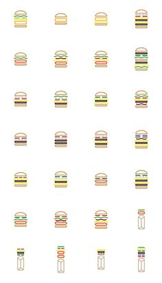 McDo : burgers & Wrap pictograms by Cyprien Bellens, via Behance