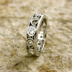 Handmade Moissanite Wedding Ring in 14K White Gold with Large Scroll Work Size 5/5mm $1,320.00