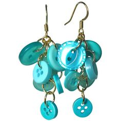 Turquoise Button Cluster Dangle Earrings ($14) ❤ liked on Polyvore featuring jewelry, earrings, accessories, dangling jewelry, earring jewelry, button earrings, button jewelry and long dangle earrings