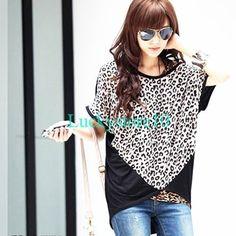 Casual Women Batwing Leopard Lace Cotton Splice Loose T-shirt Blouse Top L XL
