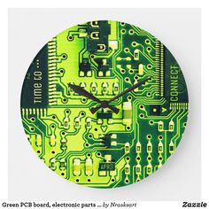 Shop Green PCB board, electronic parts printed circuit Large Clock created by Nrasksart. Pcb Board, Electronic Parts, Insect Art, Cool Ties, Floral Pillows, Large Clock, Custom Pillows, Main Colors, Hand Coloring