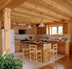 Kitchen in a log home
