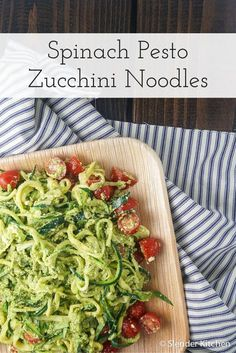 Spinach Pesto Zoodles with Cherry Tomatoes - Slender Kitchen