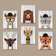 HIPSTER WOODLAND Animals Nursery Canvas or Prints Hipster Animals Wall Art Birch Wood Forest Animal Bear Giraffe Boy Bedroom Set of 6