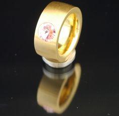 11mm PVD Gold Edelstahlring mit Swarovski Elements Fb. Light Rose-$30.03-(ring-rings)