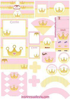 Risultati immagini per doce coroa personalizada Baby Shower Princess, Princess Birthday, Baby Birthday, Princesse Party, Diy And Crafts, Paper Crafts, Party Kit, Party Printables, Free Printables
