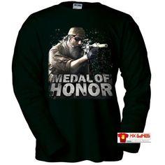 Camiseta Medal of Honor manga larga (Zoom) (Talla: Talla M Unisex Ancho/Largo [53cm/72cm] Aprox], Color: Negro) #camiseta #friki #moda #regalo