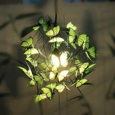 "Handmade lamp with green lime butterflies ""Verde que te quiero verde"". €60.00, via Etsy."