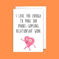 Funny Iphone Vs Samsung Valentines Card - funny valentine card, girlfriend valentine, boyfriend valentine, love card, card for her - Excited to share the latest addition to my shop: Funny Iphone Vs Samsung Valentines Card – f - Funny Valentines Cards For Friends, Valentine Cards For Boyfriend, Valentines Quotes For Him, Valentines Day Greetings, Valentine Greeting Cards, Valentine's Day Greeting Cards, Funny Birthday Cards, Boyfriend Card, Letters