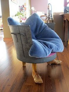 """funny chair...would have to leave those """"feet"""" off though."""