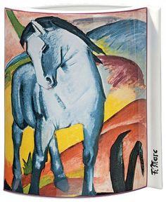 """Porzellanvase """"Blaues Pferd"""" (1911), Motiv von Franz Marc - Hannover - Porzellanmalerei › Kunstplaza"""