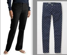 Awesome tutorial for refashioning plain black pants into anthropologie polka-dot skinnies. So cute!