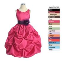 A Gorgeous taffeta bubble pick up flower girl dress. Features a lovely pick up skirt, embroidered bodice, and rhinestone accent. Choose your sash and pin-on flower color. Perfect for Flower girls dresses, formal/party dresses, and princess dresses. Girls Party Dress, Girls Dresses, Flower Girl Dresses, Pink Dresses, Flower Girls, Bridesmaid Dresses, Fuchsia Flower, Fuchsia Dress, Bubble Skirt
