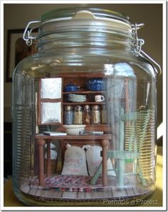 Miniature room in a jar - most unique miniature ever.