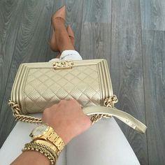 Chanel in gold Chanel Handbags, Purses And Handbags, Guess Handbags, Birkin, Luxury Bags, Mode Style, Beautiful Bags, Chanel Boy Bag, Chanel Bags