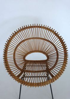 Rattan Bucket Chairs in the style of Franco Albini image 5