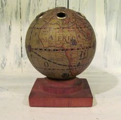 Vintage old world globe pencil pen holder desk accessory home vintage wooden globe world map pencil holder wood pencil holder desk accessory pencil holder teacher gift wood desk pen holder world globe gumiabroncs Images