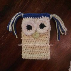 phone holder crochet hekle mobil holder ugle owl